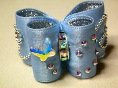 Noeud double coques sans flags 7/8 bleu et argent cristaux Swarovski : Animaux…