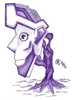 Título: Sem Título Técnica: Caneta esferográfica sob papel Ano: 2013 Descrição: A pessoa enraizada torna-se sólida e estática, de expressão única e imutável.
