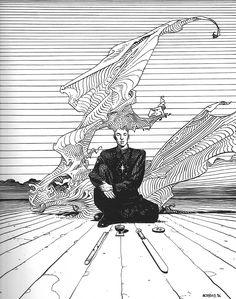 Drawing Comics Jean Giraud (Moebius) - Surrealism Today - Jean Giraud (Moebius) was a French comic artist Jean Giraud, Comic Book Artists, Comic Artist, Comic Books Art, Arte Sci Fi, Sci Fi Art, Illustrations, Illustration Art, Character Drawing