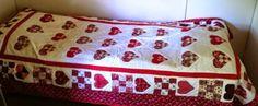 paper piecing hearts - bed quilt