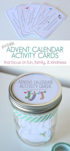 free printable activity cards for your Christmas Advent calendar - focusing on fun, family, and kindness