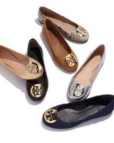 Tory Burch Reva Leather Ballerina Flats. Love these! Pretty, Polished and Professional ❤️.