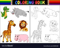 Coloring book with wild animals cartoon. Illustration of Coloring book with wild , Designs To Draw, Art Designs, Portfolio, Graphic Design Art, Royalty Free Images, Scooby Doo, Coloring Books, Wild Animals, Vector Free