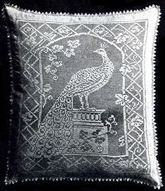 Peacock filet crochet pillow with diagram (2 pages)