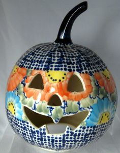 UNIKAT Signature Butterfly Summer! Polish Pottery Pumpkin Halloween Ornament