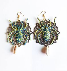 Aretes Spider! Spider Earrings, Collars, Crochet Earrings, Simple, Collection, Jewelry, Fashion, Stud Earrings, Moda