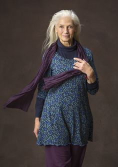"""Blueberry"" tunic in eco-cotton/spandex Our cute pattern of small blueberries makes this tunic a real treat. Note the pretty picot trim at the hem that provides an extra lovely finish. Figure-fit, but generous fit over the hips. Length: M 30¾"""