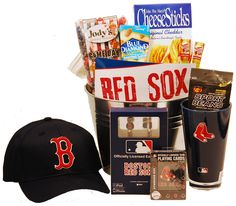 Boston Red Sox Gift Basket - Go Sox! Raffle Baskets, Gift Baskets, Game Ideas, Craft Ideas, Baseball Party, Auction Ideas, Jack And Jill, Diy Crafts For Gifts, Basket Ideas