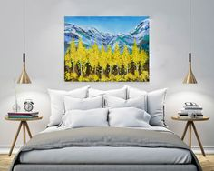 Fall painting, Aspen, Autumn colors Landscape, Acrylic Palette knife Forest painting, Trees, Mountain painting, Modern art by Nikki Chauhan