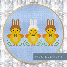 Row of Easter Chickens Cross Stitch Pattern by VickieDesigns