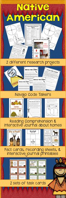 Native Americans:  Research, Interactive Journals, Task Cards, and more!  $