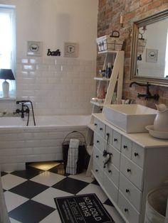 kafelki metro, cegła w łazience #bathroom