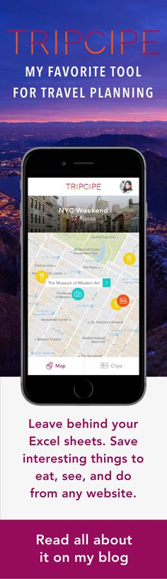 My hands down favorite travel planning tool these days is Tripcipe, a free travel planning map application that I like to say is a marriage between Pinterest and Google Maps. I've been using Tripcipe it to plan my travels for just over a year now and have taken it with me on my trips all over the world and I am so obsessed I've integrated it into my website. It's free, it's easy to use and if you don't have it yet, you need to get it to make your travel life a whole lot better.