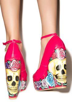 Iron Fist Calavera Rose Wedges | Dolls Kill - AHHHHHHHHHH!!!!!!!!!!!!! <3 <3 <3 <3