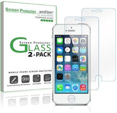 iPhone SE/5/5S/5C Screen Protector Glass (2-Pack) $1.99 (amazon.com)