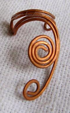 handmade copper wire earcuffs
