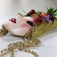 Vintage Retro Ceramic Fancy Lady Face Hanging Mask, Mardi Gras Wall Mask Decor, Chiquita Banana Lady, Boho Hippie Funky Decor, Kitsch Decor