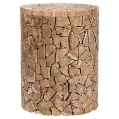 Blog de decoración Reclaimed teak wood stool in medium oak with a mosaic-inspired design.          Product: Stool  Construction Material: