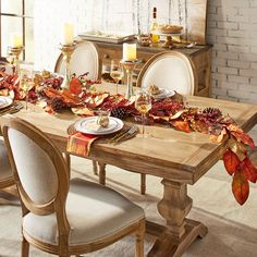 Traditional meets subtle rustic for casual or formal dining. Crafted with hardwoods, our handsome Bradding table features a brushed, whitewash finish and urn-shaped trestle legs. Thanksgiving Table Settings, Thanksgiving Tablescapes, Holiday Tables, Thanksgiving Decorations, Table Decorations, Christmas Tables, Kids Thanksgiving, Fall Dining Table, Dinner Table