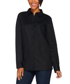 Black Collared Button-Up - Plus Too