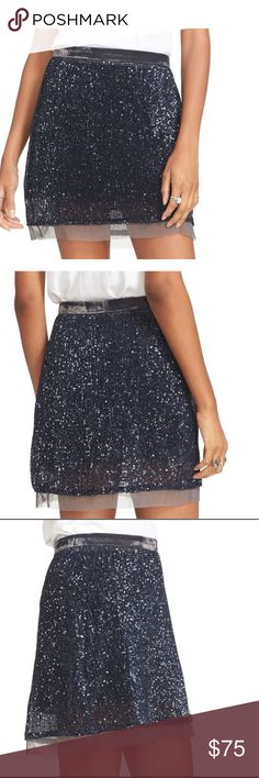 "👗NWT👗Free People sequined Mesh Wild Child Skirt The rich sheen of velvet encircles the waist of this stunning mini in navy. Fits true to size, slender, velvet waistband, micro-pleated mesh hem, concealed side zip with hook & eye closure, lined, approximately 18"" from waist to hem.  Polyester, trim and lining: rayon fp1.7binx Free People Skirts Mini"