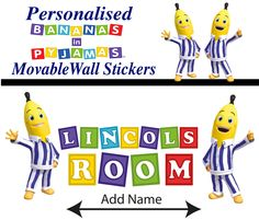 Wholesale Printers,  - Personalised Bananas in Pyjamas Wall Stickers - Totally Movable, $9.95 (http://www.wholesaleprinters.com.au/personalised-bananas-in-pyjamas-wall-stickers-totally-movable/)