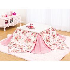 Belluna: Living room; kotatsu; ローズ柄省スペースこたつ布団掛敷セット