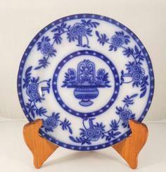 Antique Blue Flow Urn vase pattern Salad plate Bone China Side plate England