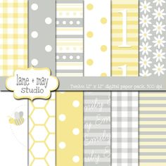 customizable baby bee gray and yellow digital scrapbook papers. $9.00, via Etsy.
