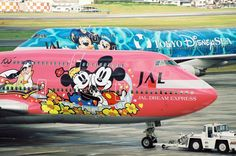 Disney themed liveries on two JAL Boeing 747-400s