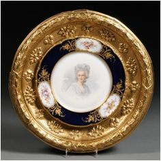 sevres porcelain | 19th Century Sevres Porcelain Plate Cobalt Blue in Antique Frame ...