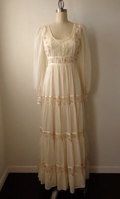 1970's Dress by Gunne Sax Prairie Dress Off White by EadoVintage, $68.00