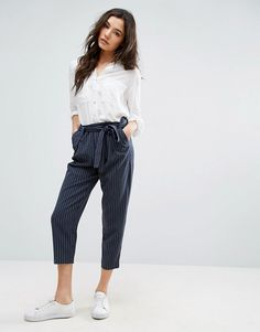 ONLY Pinstripe Ankle Trouser