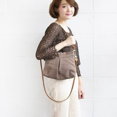Cross-body and Shoulder Midi Skirt Bags Size M Hand Woven and Botanical Dyed Cotton Brown-Blue Color-www.tanbagshop.com