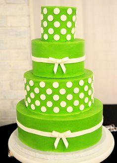 Lime Green & White Polka Dotted Wedding Cake