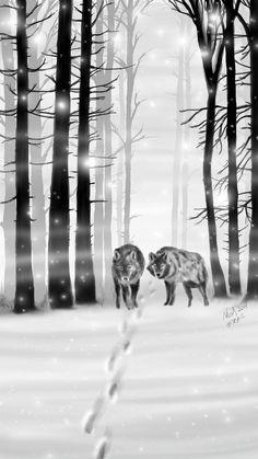 #inktober #Inktober2017 #trail #Wolves #wood @Sony Sketch #Mała2017Inktober I miss the winter...