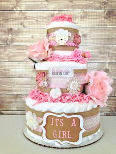Rustic Shabby Chic Lamb Inspired Diaper Cake for Girls, Baby Shower Centerpiece, Burlap and Lace Theme Diaper Cake