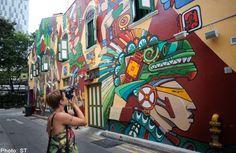 URA red-flags graffiti art on Haji Lane shophouse
