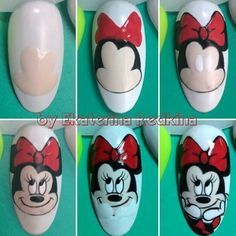 Trendy Nails Art Disney Step By Step Ideas Minnie Nails, Mickey Mouse Nails, Holiday Nails, Christmas Nails, Nail Art Dessin, Animal Nail Art, Trendy Nail Art, Nail Art Galleries, Nail Tutorials