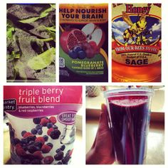 Triple Berry #Smoothie: blueberry, blackberry, raspberry, pomegranate berry #juice, Sage #honey, spinach.