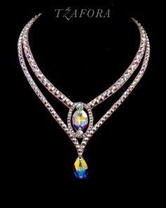 """Heart and Soul"" - Swarovski ballroom necklace. Ballroom dance jewelry, ballroom dance dancesport accessories. www.tzafora.com Copyright © 2016 Tzafora."