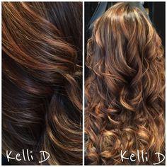balayage hair color with dark chocolate & caramel . #balayage #sombre #portlandoregon #tigard #davines #moroccanoil #kellid #hairstylist #behindthechair #curls
