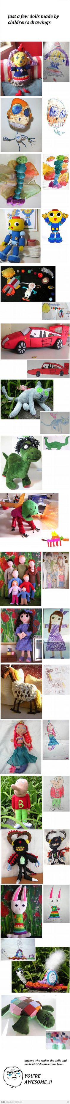 dolls made by children's drawings... awesome.