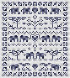 Elephant cross stitch pattern modern sampler by MKDesignArt, £1.50