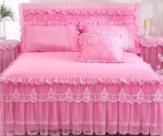Tienda Online 1 pieza de falda de encaje + 2 piezas de fundas de almohada juego de cama de princesa cubrecamas sábana para niña funda de cama tamaño King/Queen | AliExpress móvil