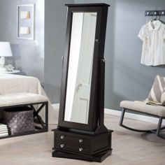 Belham Living Swivel Cheval Mirror Jewelry Armoire - Floor Mirrors at Hayneedle Mirror Jewelry Armoire, Mirror Jewellery, Jewellery Storage, Jewelry Box, Silver Jewelry, Computer Armoire, Dressing Table Design, Cheval Mirror, Mirror Mirror