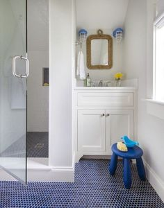 Marvelous Penny Tile Bathroom Ideas with Best 25 Blue Penny Tile Ideas On Home Decor Bathtub Ideas Best Bathroom Flooring, Bathroom Floor Tiles, Bathroom Kids, Shower Floor, Navy Bathroom, Bathroom Modern, Downstairs Bathroom, Bath Shower, Turquoise Bathroom