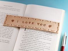 I Love You Leather Bookmark, Handmade Valentines Gift, Romantic I Love You Couple Gifts, Leather Ann Want a really romantic Valentines Day gift? This handmade leather bookmark would make an excellent Leather Gifts, Leather Books, Leather Craft, Handmade Leather, Handmade Valentine Gifts, Valentine Day Gifts, Valentines, Leather Anniversary Gift, Anniversary Gifts
