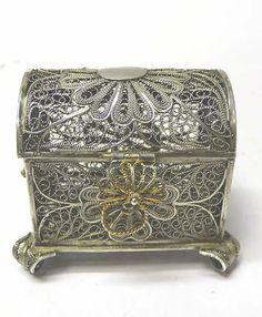 Antique Silver Filigree Box - waxantiques