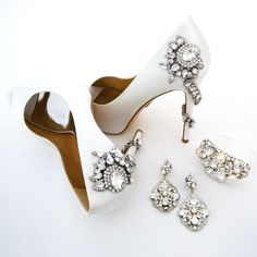 Wedding Shoes & Bridal Jewelry obsessed.  Badgley Mischka bridal shoes, Cheryl King Couture bridal chandelier earrings & cuff.